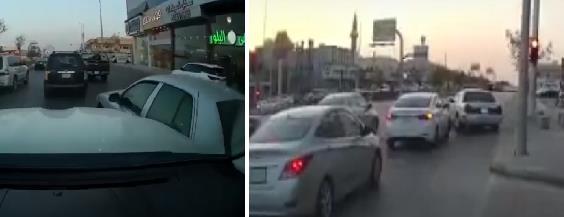 قائد مركبة متهور يراوغ بين المركبات ويقطع الإشارة بأحد الطرق في الرياض