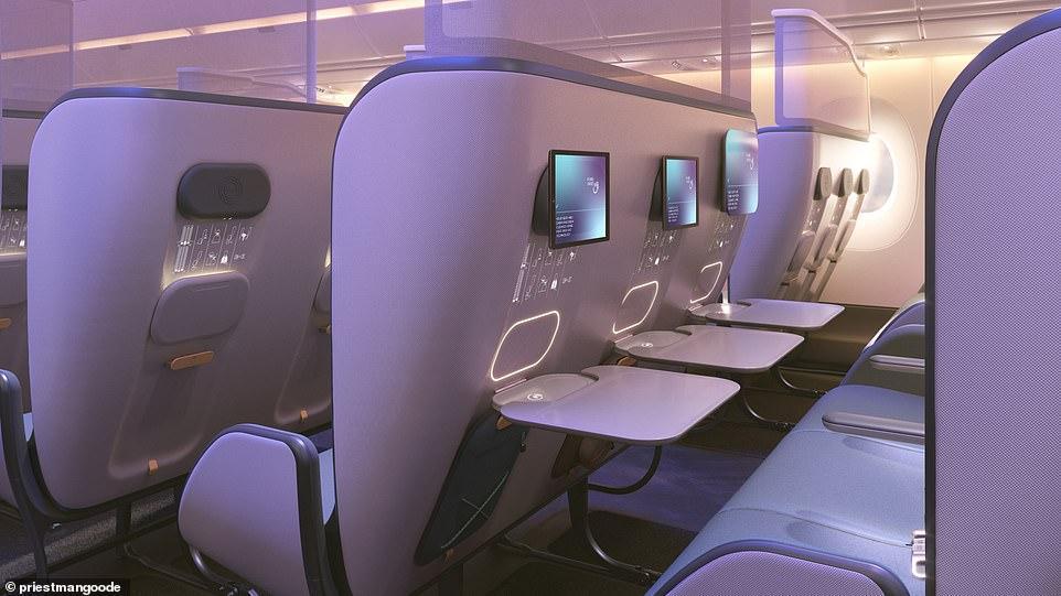"""..تصميم لدرجة رجال الأعمال على متن الطائرات مناسب في أزمة """"كورونا"""""""