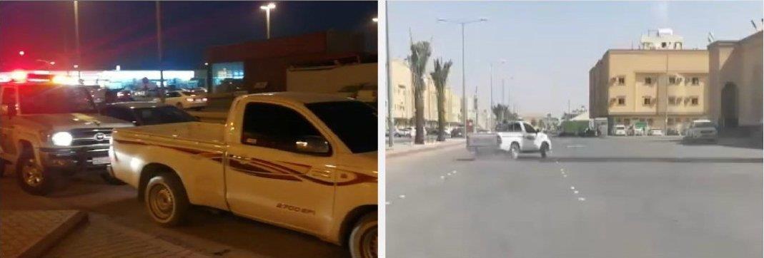 """""""مرور الرياض"""" يطيح بسائق """"هايلكس"""" مارس التفحيط وبرفقته آخر في حوض السيارة"""