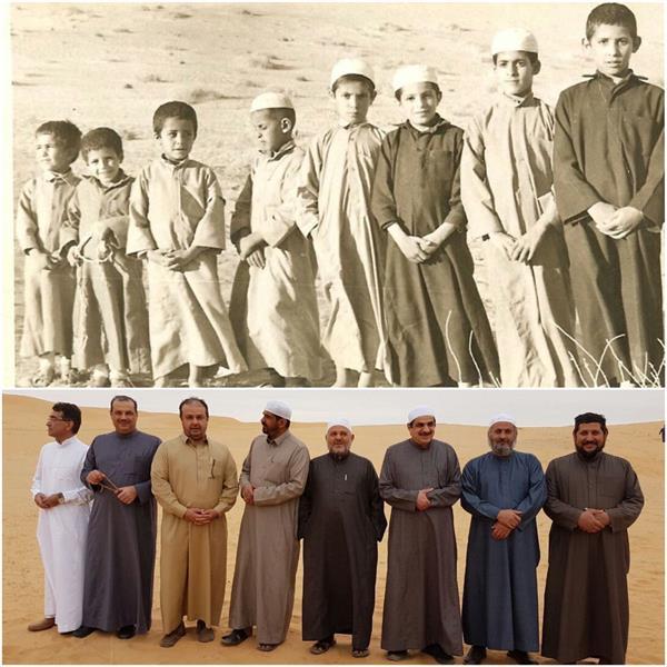 وقرر ثمانية أصدقاء الوقوف في منطقة صحراوية كانوا قد التقطوا فيها صورة جماعية قديمة خلال طفولتهم، فأعادوا التقاط الصورة بالترتي