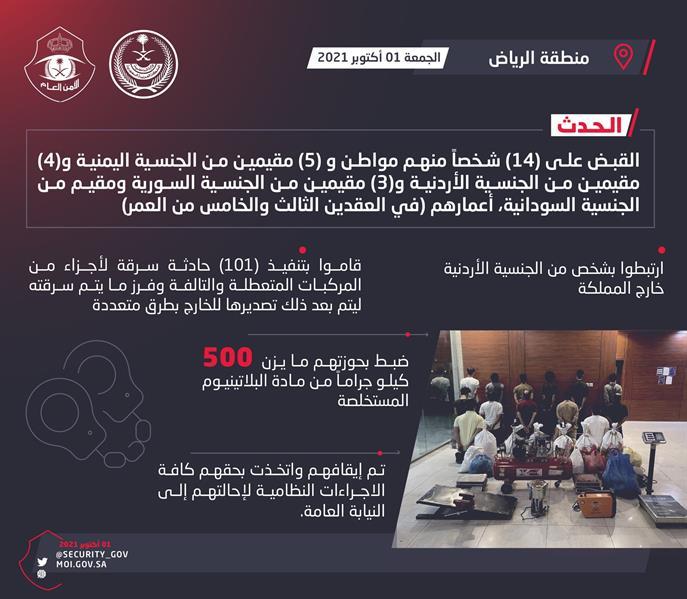 الرياض: القبض على 27 شخصاً سرقوا أكثر من 100 مركبة لتصديرها للخارج