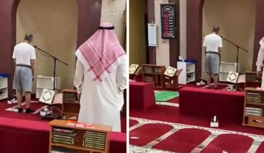 مؤذناً أذن للصلاة بالمسجد وهو مرتدياً الشورت