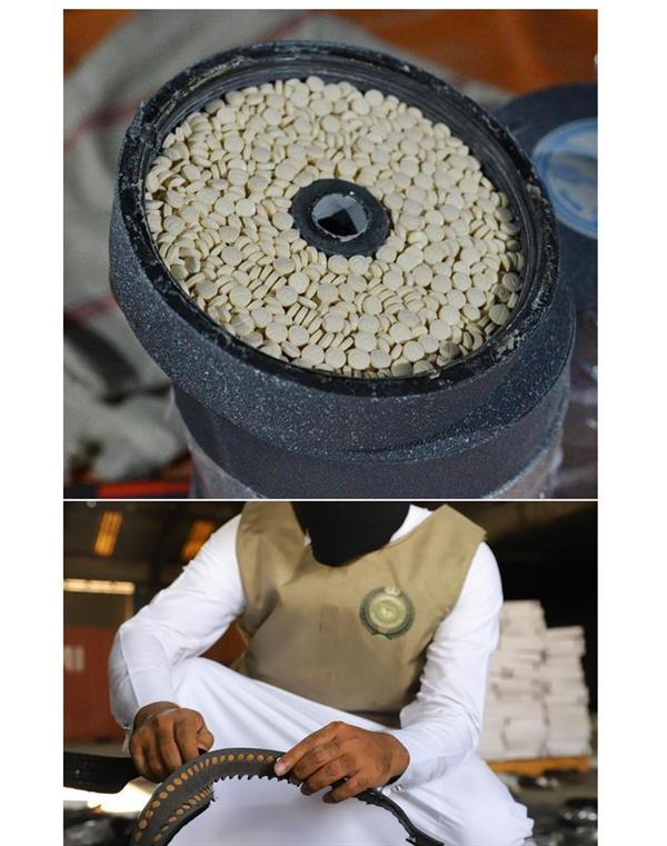 5.8 مليون قرص أمفيتامين مخدر مخبأة داخل شحنة أحزمة ملابس