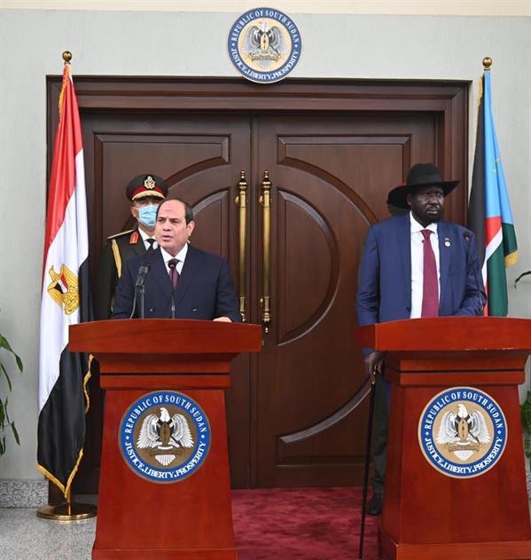 الرئيس المصري عبد الفتاح السيسي، ورئيس جنوب السودان سلفا كير