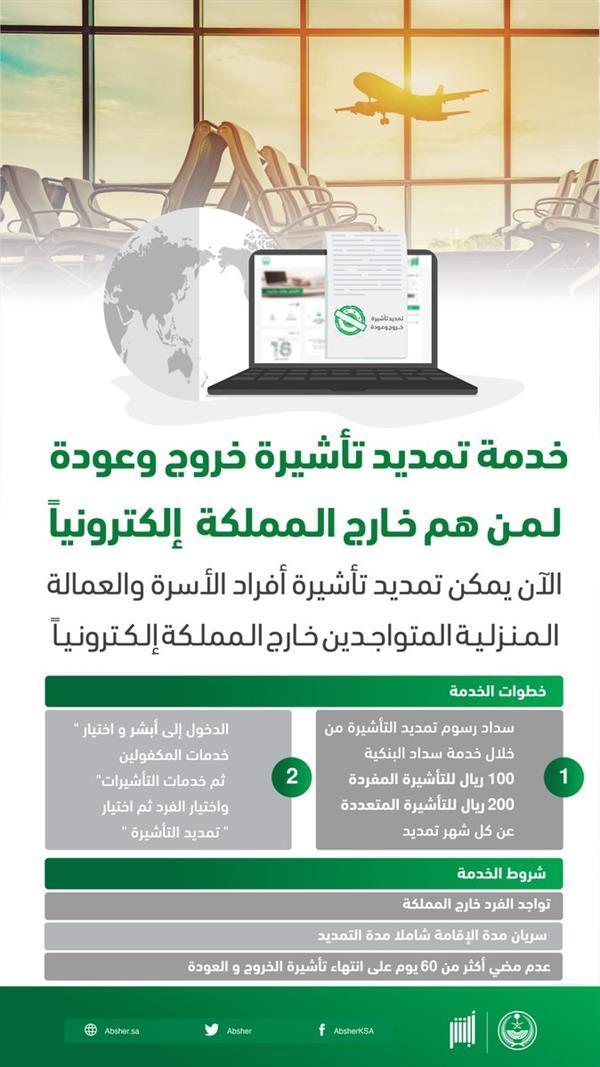 السعودية برس أبشر ي تيح خدمة تمديد تأشيرة الخروج والعودة للمقيمين المتواجدين خارج المملكة
