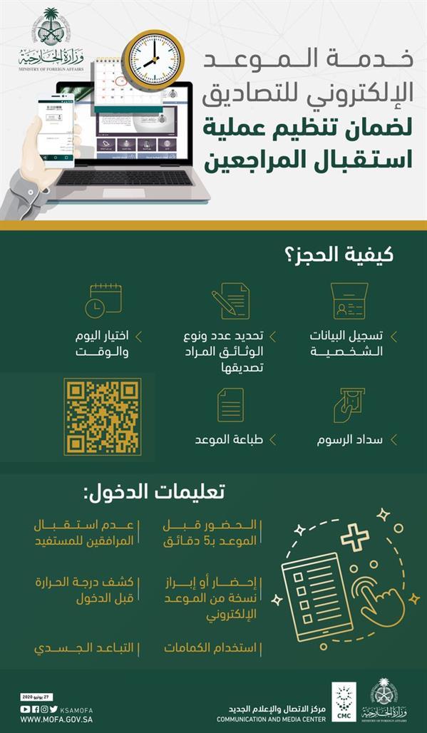 """""""الخارجية"""": إطلاق خدمة المواعيد الإلكترونية لتصديق الوثائق"""