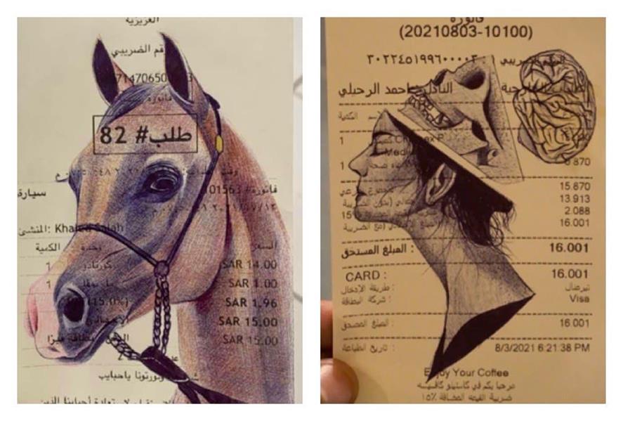 فنان تشكيلي سعودي يستغل موهبته في تحويل الفواتير للوحات فنية (صور)
