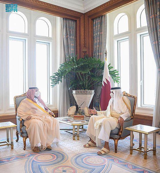الشيخ تميم بن حمد يستقبل الأمير تركي بن محمد بن فهد