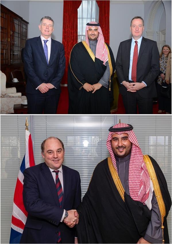 خالد بن سلمان يبحث مع وزير الدفاع البريطاني ونائب وزير الدفاع، بمستشار الأمن القومي ومستشار رئيس الوزراء للشؤون الدولية البريطاني