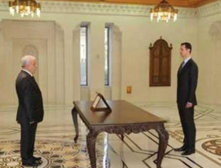 الوزير محمود السيد يؤدي القسم للرئيس بشار الأسد