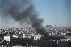 دخان يتصاعد من مجمع وزارة الداخلية اليمنية
