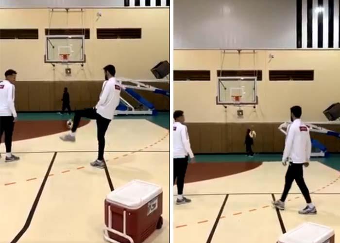 """شاهد .. هدف رائع بالقدم في """"كرة السلة"""" من مدافع نادي الشباب"""