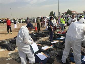 """شاهد.. تجربة """"فرضية"""" لسقوط طائرة خارج مطار المؤسس.. تشارك فيها 28 جهة وتفترض وقوع 255 قتيلاً"""