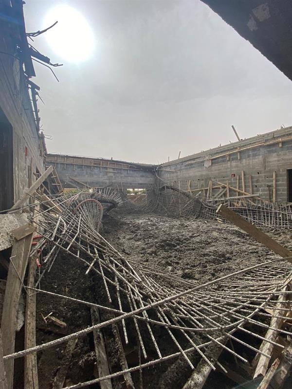 انهيار سقف فيلا تحت الإنشاء أثناء صب الخرسانة.. ووقوع إصابات