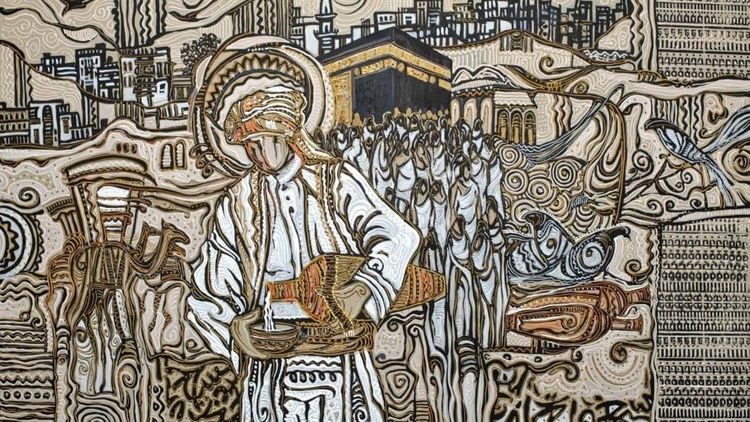 """بطول 36 متر فنان سعودي يبدع في رسم """"رحلة الحج"""" على جدارية في مطار جدة"""