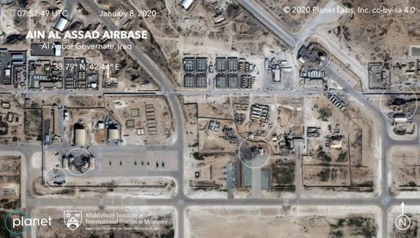 الأضرار في قاعدة عين الأسد الأمريكية