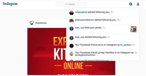 instagram notification for web