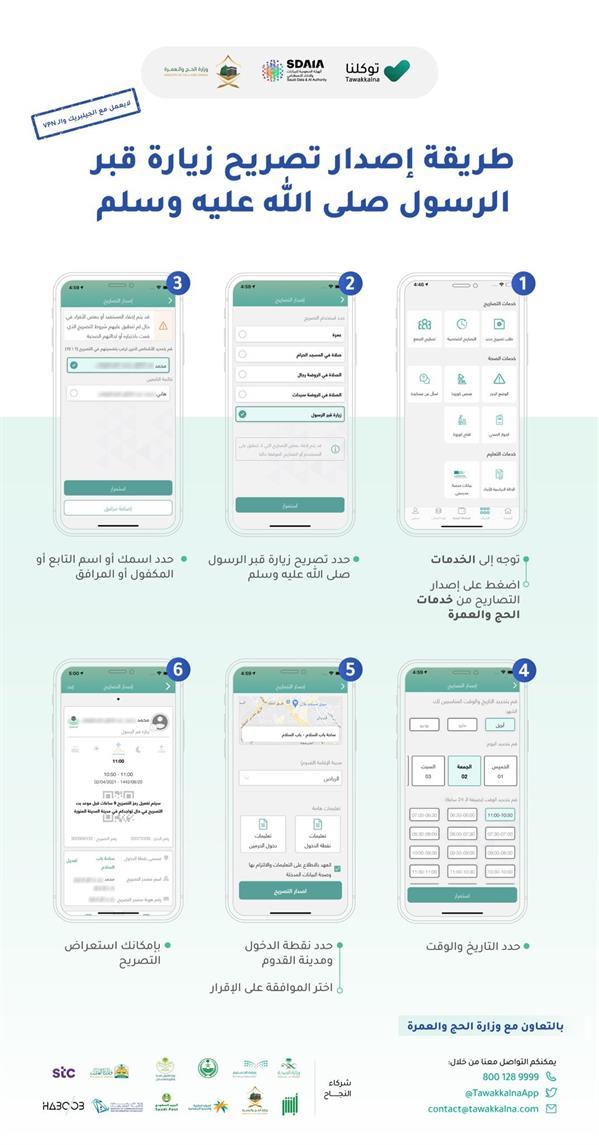 """6 خطوات لإصدار تصريح لزيارة قبر الرسول ﷺ عبر """"توكلنا"""""""