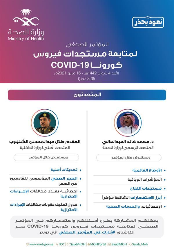 المتحدثون وأهم مواضيع المؤتمر الصحفي لمستجدات فيروس كورونا (كوفيد-19) ليوم غدٍ الأحد