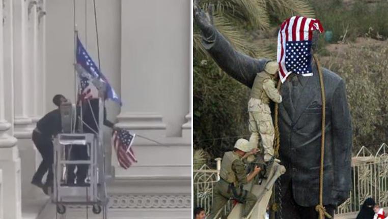 """متظاهرون مؤيدون لـ""""ترامب"""" ينزلون العلم الأمريكي من فوق مبنى الكونغرس"""