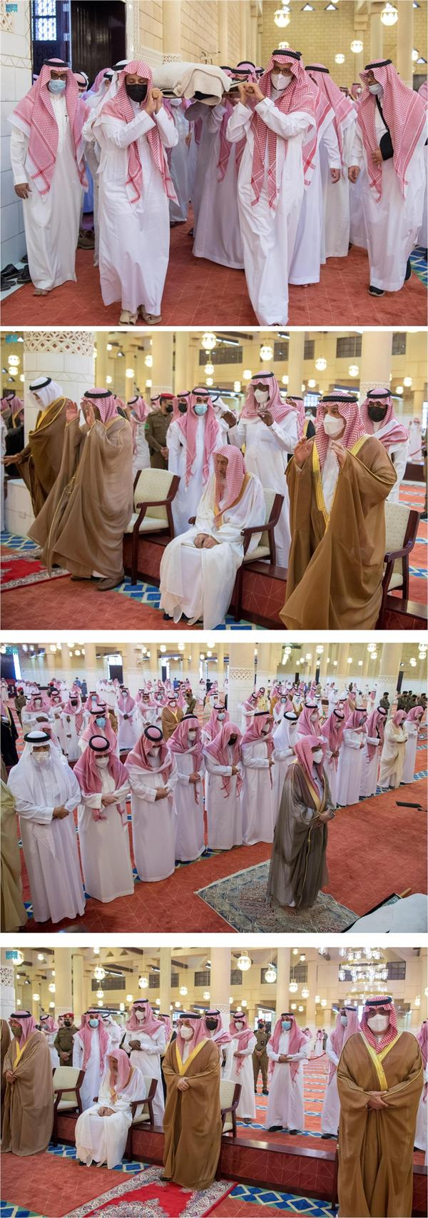 أمير الرياض يؤدي صلاة الميت على الأميرة نوف بنت خالد