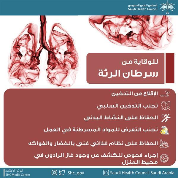 """""""المجلس الصحي"""" يوجه 6 نصائح للوقاية من سرطان الرئة"""