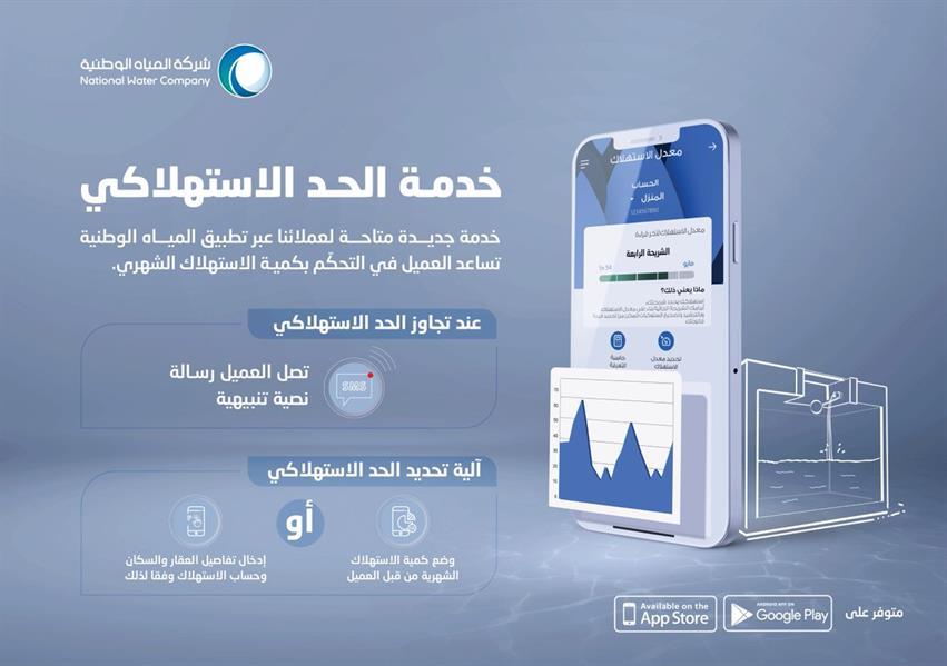 """""""المياه الوطنية"""" تطلق تطبيقها على الهواتف الذكية بأكثر من 30 خدمة أبرزها """"الحد الاستهلاكي"""""""