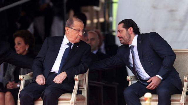الرئيس اللبناني ميشال عون وسعد الحريري