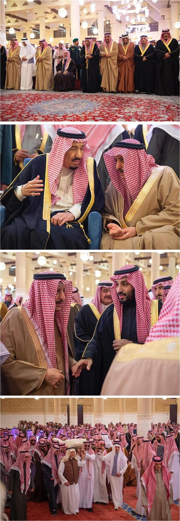 خادم الحرمين الشريفين يؤدي صلاة الميت على الأمير بندر بن محمد بن عبدالرحمن