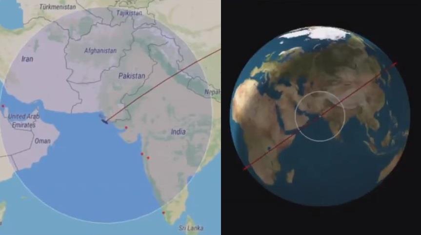 """وصلت شبه الجزيرة العربية .. الصاروخ الصيني """"المفقود"""" يعبر اليمن ويقترب من سلطنة عمان"""