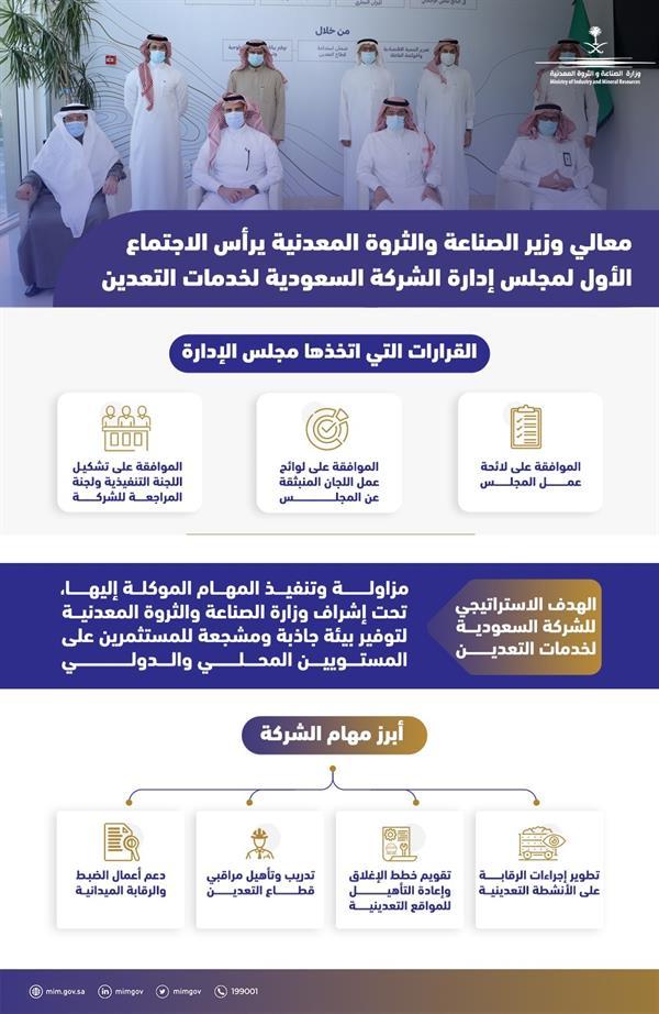 الاجتماع الأول لمجلس إدارة الشركة السعودية لخدمات التعدين برئاسة وزير الصناعة والثروة المعدنية