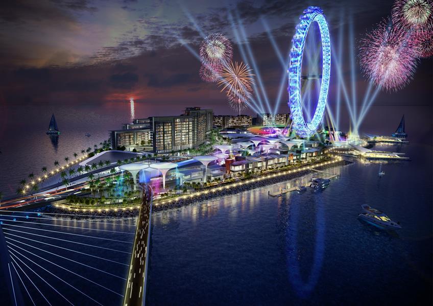 7- عين دبي - تطوير جزيرة بلو ووترز  يتضمن المشروع الذي تبلغ قيمته 272 مليون دولار، بناء عجلة فيريس الدوارة العملاقة، بقُطر يبل