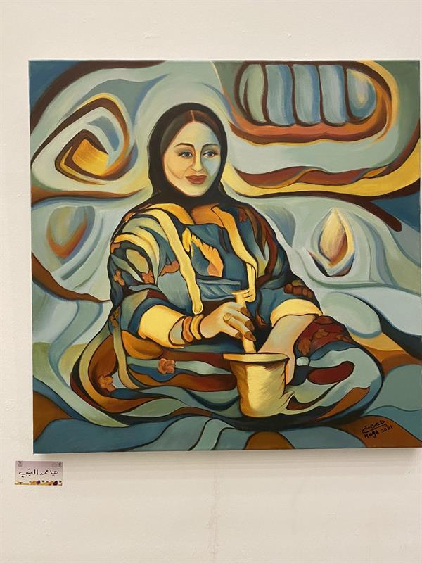 """فنانة تجسد أصالة المرأة السعودية معها""""ألوان مبهجة ومبهجة"""""""