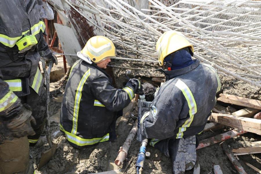 انهيار حديد تسليح بمبنى قيد الإنشاء بمكة