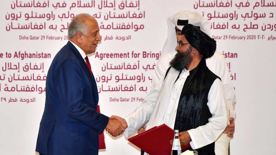 من توقيع الاتفاق بين واشنطن وطالبان في الدوحة في فبراير الماضي