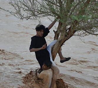 صورة الشابان يتشبثان بشجرة من سيول حائل