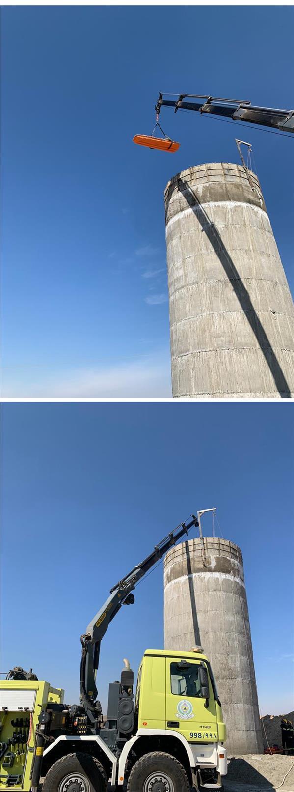 """""""مدني المدينة المنورة"""" ينقذ 4 عمال سقطوا داخل خزان بوادي الفرع"""