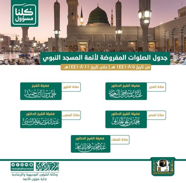 """""""شؤون الحرمين"""" تنشر جدول التناوب اليومي بين أئمة المسجد الحرام والمسجد النبوي"""