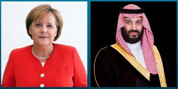 ولي العهد يتلقى اتصالاً هاتفياً من المستشارة الألمانية أنجيلا ميركل