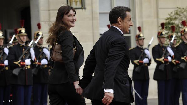 كارلا بروني وزوجها ساركوزي
