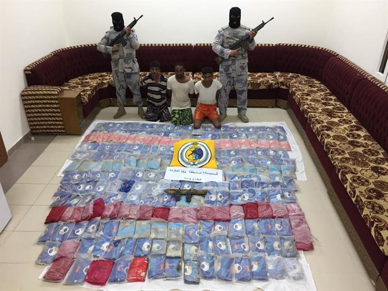 """حرس الحدود بمنطقة مكة المكرمة يحبط محاولة تهريب """" 258,35 """" كجم من الحشيش المخدر"""