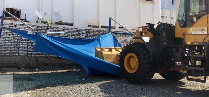 إزالة 85 مظلة سيارات مخالفة في المعابدة بمكة