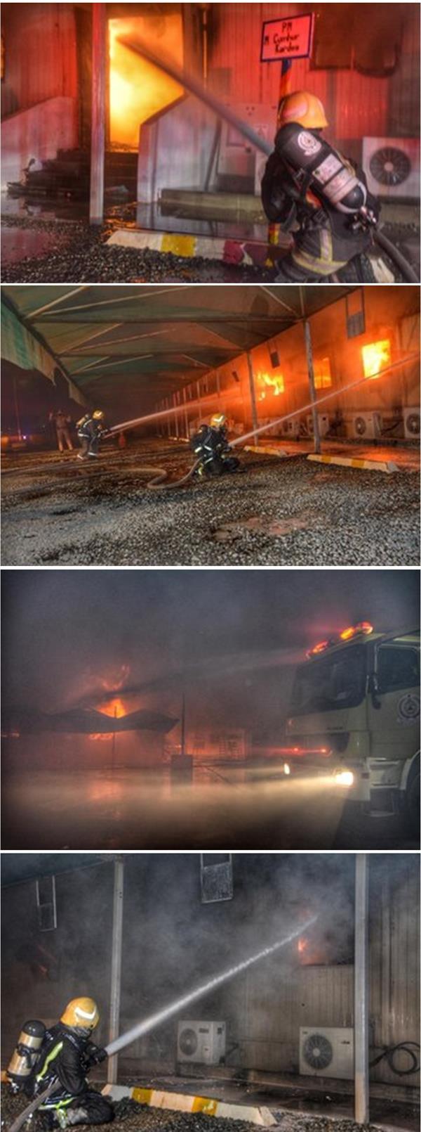 الدفاع المدني بجدة يباشر الحريق الذي نشب في عدد من المكاتب المؤقتة للمقاول