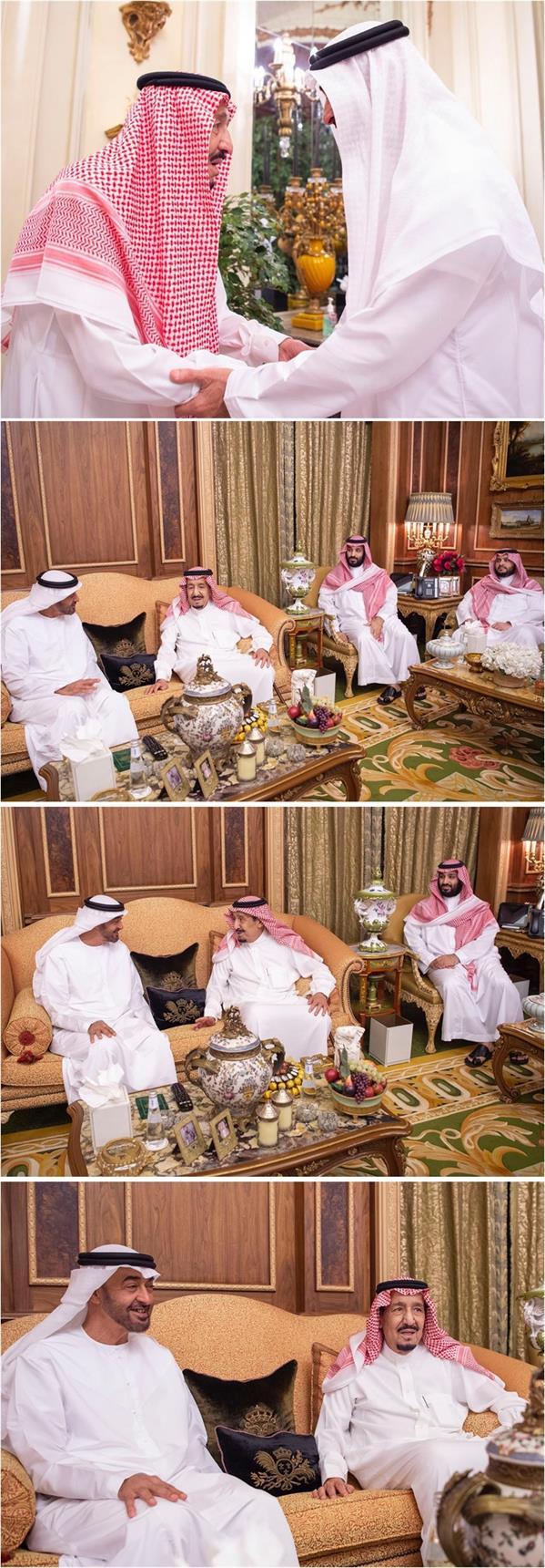 خادم الحرمين الشريفين يستقبل الشيخ محمد بن زايد آل نهيان.