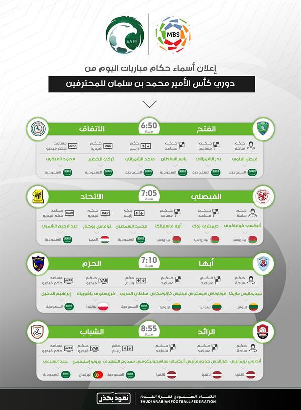 حكام مباريات اليوم الأول من الجولة 26
