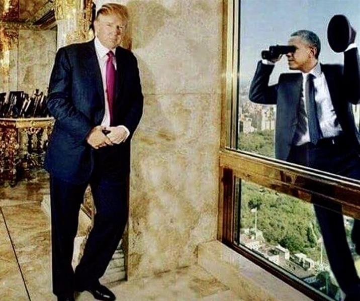 """""""ترامب"""" ينشر صورةً لـ """"أوباما"""" وكأنه يتجسس عليه"""