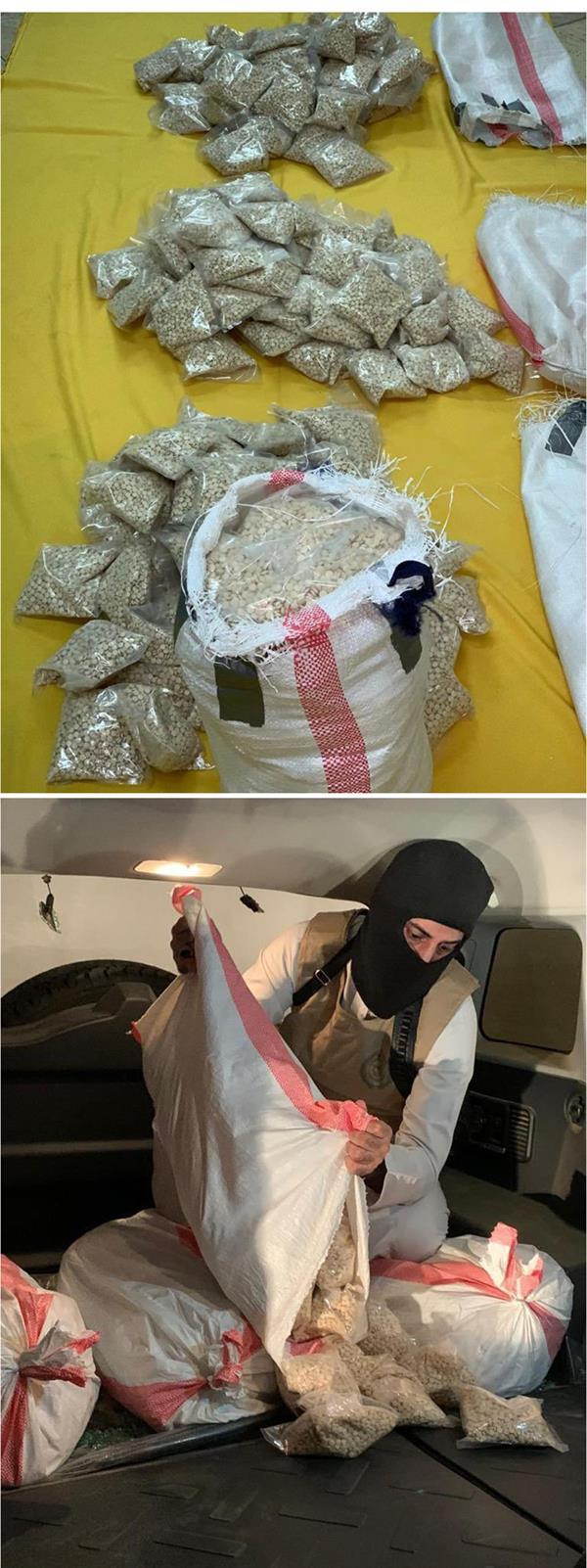 القبض على مروجَين بمنطقة عسير بعد قيامهما بنقل كمية ضخمة من الحبوب المخدرة بلغت 400 ألف قرص من مادة الأمفيتامين.