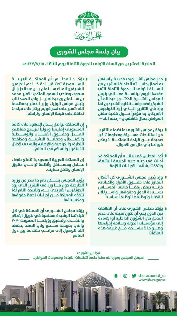 """""""مجلس الشورى"""" يصدر بياناً ندد فيه بما ورد في التقرير الذي زُود به """"الكونجرس"""" حول مَقتَل خاشقجي"""