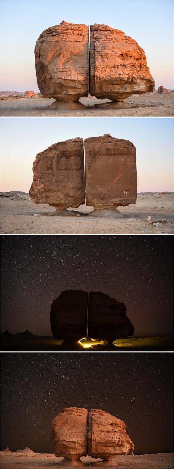 """صخرة """"النصلة"""" جنوب تيماء .. أعجوبة صخرية ضخمة مقسومة إلى النصفين."""