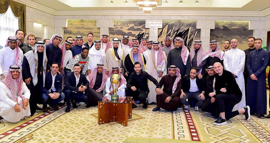 أمير الرياض يستقبل رئيس نادي النصر واللاعبين